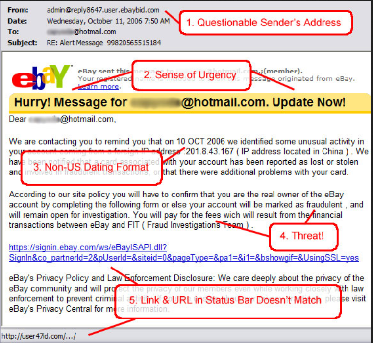 ebay spam email example