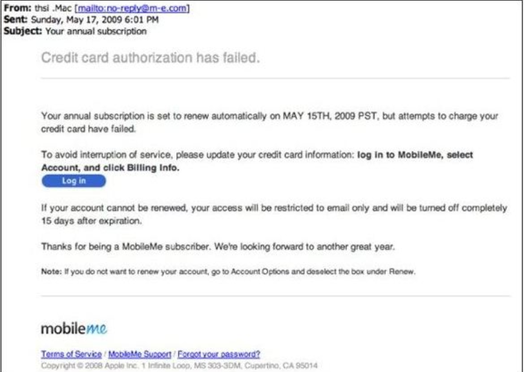 authorization failed spam email example