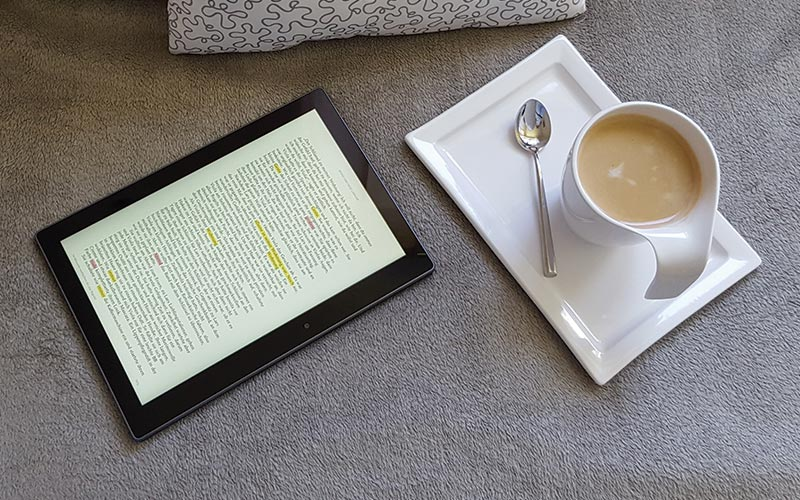 coffee and tablet
